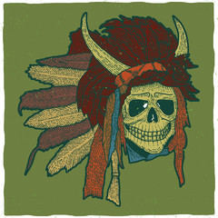 Colorful Indian Skull Mask Poster
