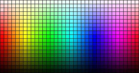 Rainbow mosaic, hue and brightness, on black background. Vector