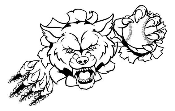 Wolf Baseball Mascot Breaking Background