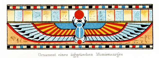 Ornament from an ancient Egyptian sarcophagus with Scarab Beetle (from Meyers Lexikon, 1896, 13/248/249)