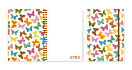 Cover design for notebooks or scrapbooks with butterflies. Vector illustration.