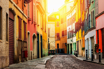 Old beautiful street in Parma, Emilia-Romagna, Italy.