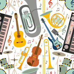 Musical seamless pattern made of different musical instruments, treble clef and notes. Colorful vector illustration.