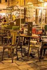 Street market of old vintage furniture in Sarzana, Italy.