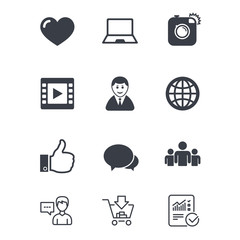 Social media icons. Video, share and chat signs. Human, photo camera and like symbols. Customer service, Shopping cart and Report line signs. Online shopping and Statistics. Vector