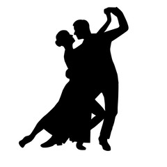Tango couple dancing silhouette vector