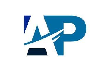 AP Negative Space Square Swoosh Letter Logo