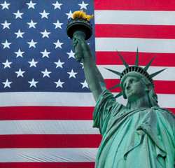 The Statue of liberty over the United States of America