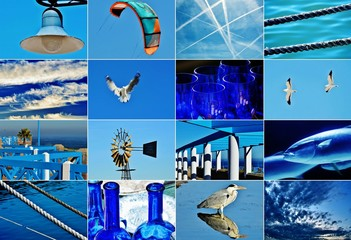 Picture collage with different motives in blue