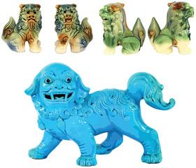 Vintage Chinese Foo Dog Dragons Vectors