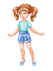watercolor illustration, cute girl in blue shirts, little coquette, cheerleader, summer holiday look, child, isolated on white background