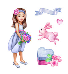 watercolor illustration, girl in blue dress holding flower bouquet, cute coquette, holiday set, bunny, heart gift box, blank ribbon tag, holiday girlish clip art isolated on white background