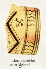 Bowl fragment from Mycenae, Greece (from Meyers Lexikon, 1896, 13/248/249)