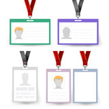 identification badge set vector id card blank name template
