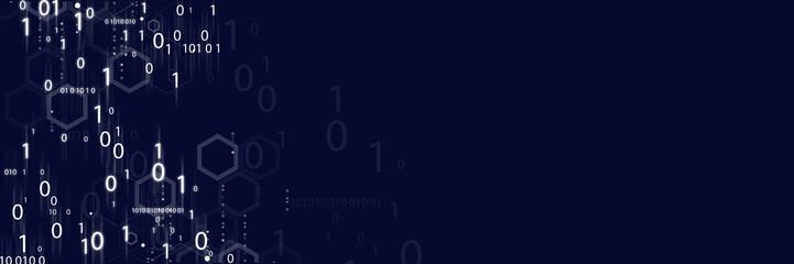 Binary numbers on digital screen