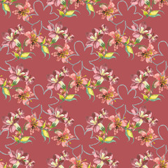 Background summer flowers, seamless pattern and blossom contur
