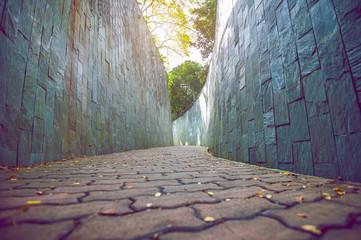 Wall Mural - Walkway in park. Vintage tone