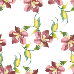 Summer flowers, seamless pattern, watercolor hand painting