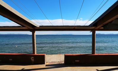 empty beach bar terrace off-season