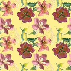 Summer flowers bouquet, seamless pattern