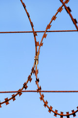Part of the protective wire barbed fence. Security fence, A mesh barbed wire fence, close up. Barbed wire on a background of the blue sky.