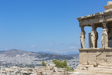 the porch of the Caryatids, The Erechtheum, Acropolis of Athens, Athens, Greece, Europe