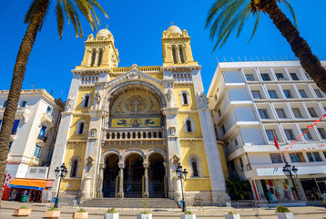 Catholic cathedral St. Vincent de Paul in Tunis. Tunisia, North Africa