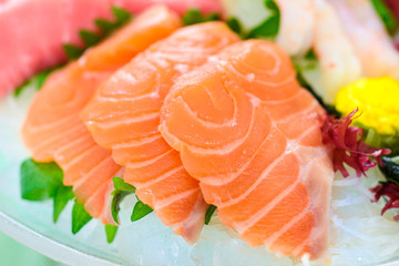 Fatty Salmon Sashimi on Crushed Ice