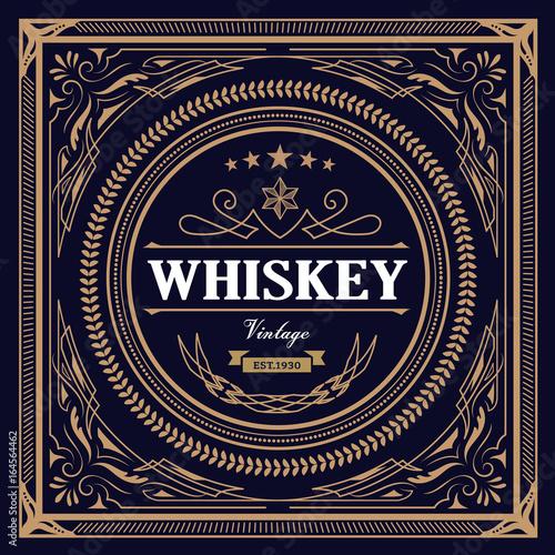 Whiskey Label Vintage Design Retro Vector Illustration