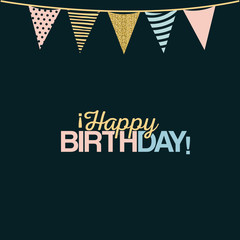 color dark green background with decorative flags to party text happy birthday vector illustration
