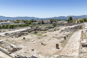view over the excavation site towards Eleusis and the Saronic Gulf, Greece, Europe