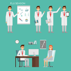 Group of doctors characters and hospital staff. Medical team concept in flat design. Healfthcare concept. Medic male doctor with patient in the office of clinic