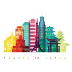 Japan skyline silhouette. Vector illustration