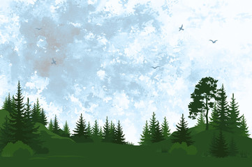 Landscape, Forest with Pine and Fir Trees Green Silhouettes and Sky with Birds on Hand-Draw Watercolor Painting Background