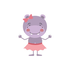 colorful caricature of cute expression female hippo in skirt with bow lace vector illustration