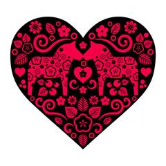 Traditional Scandinavian folk heart vector from Sweden