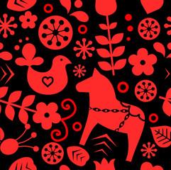 Traditional Swedish/ Scandinavian folk pattern vector