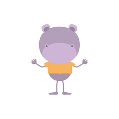 colorful faceless caricature of hippo with t-shirt vector illustration