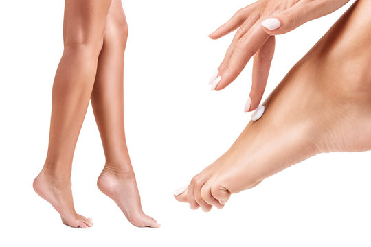 Collage of perfect and healthy female legs.