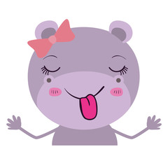 colorful caricature half body of female hippo with bow lace and sticking out tongue vector illustration