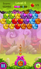 Cute game user interface with colorful bugs.