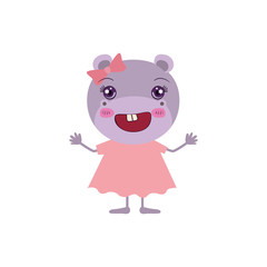 colorful caricature of cute happiness expression female hippo in dress with bow lace vector illustration
