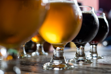 A colorful beer flight