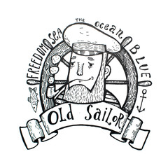 Hand drawn vintage black and white old sailor.