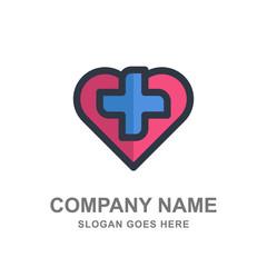 Cross Love Heart Medical Healthcare Pharmacy Logo Vector Icon Design Business Template Company
