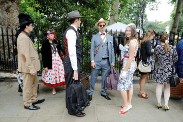 Participants wait for the start of the Chap Olympiad in Bedford Square, London