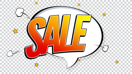 Sale pop art splash background, explosion in comics book style. Advertising signboard, price reduction with halftone dots, cloud beams on transparent backdrop. Vector template for ad, covers, posters.