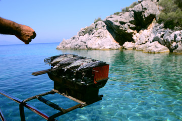Seafood Barbecue grill on a boat, Mugla, Turkey