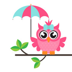 cartoon owl girl with umbrella on a branch