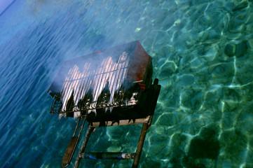Seafood Barbecue grill on a boat, Mugla, Turkey